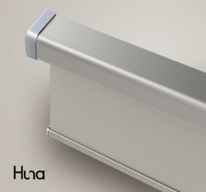 Huna Next Generation electric roller blind with titanium cassette and sand coloured fabric