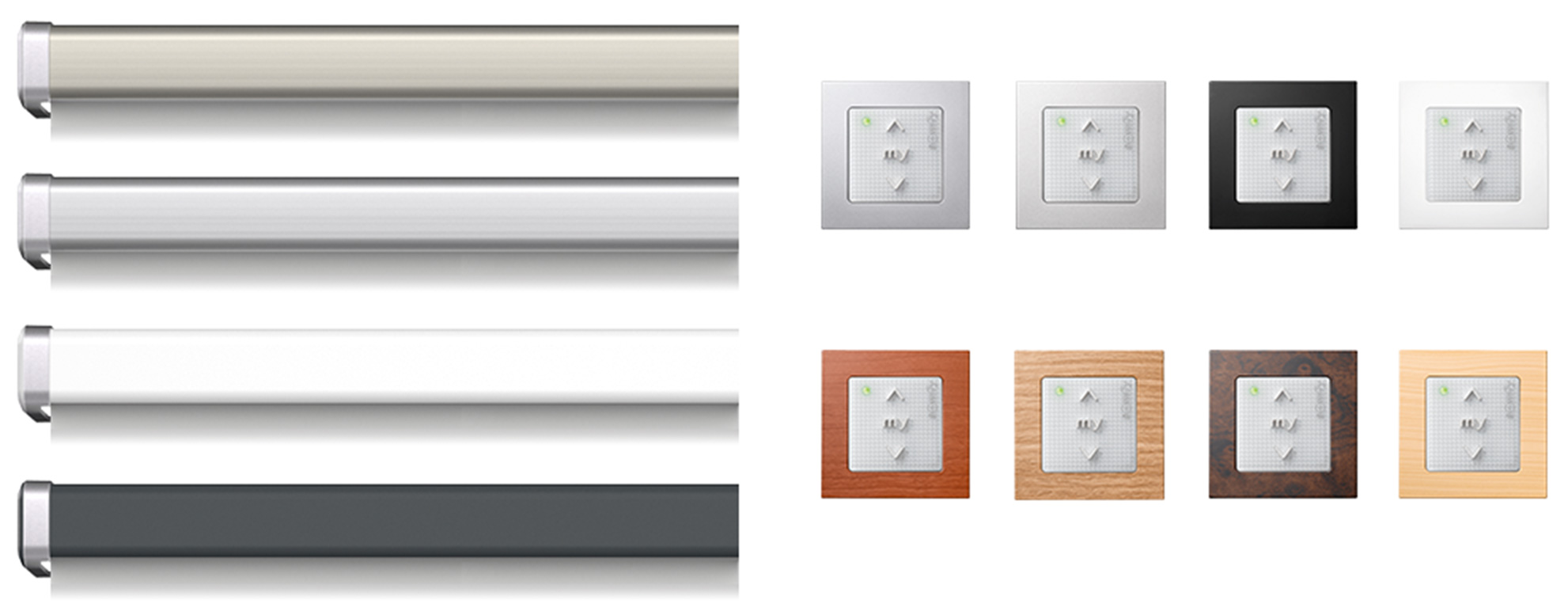 Titanium, aluminium, white and anthracite pelmets with eight wall switches in various metallic and wood effect finishes